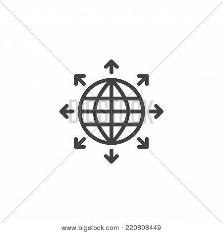 Globe sphere and outgoing arrows line icon, outline vector sign, linear style pictogram isolated on white. Symbol, logo illustration. Editable stroke