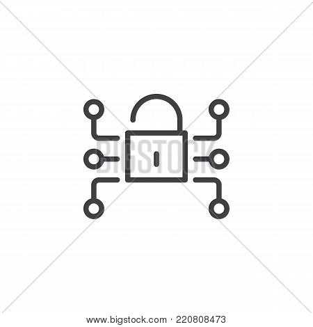 Lock media network data protection line icon, outline vector sign, linear style pictogram isolated on white. Cryptography, Cyber security symbol, logo illustration. Editable stroke