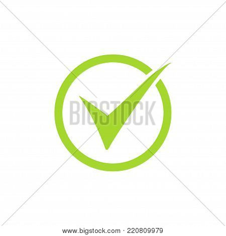 Tick icon vector symbol, green checkmark isolated on white background, checked icon or correct choice sign, check mark or checkbox pictogram.