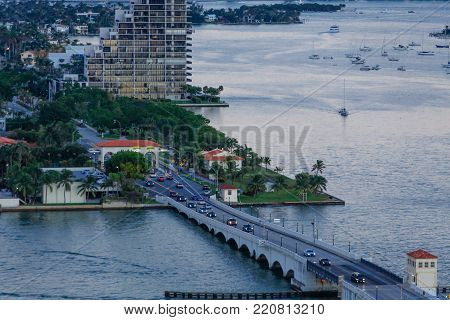 Commuter Traffic on Miami Causeway at Dusk