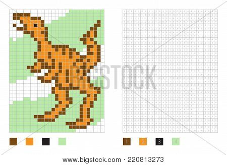 Pixel dinosaur cartoon in the coloring page with numbered squares. Allosaurus, vector illustration