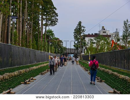 Matsushima, Japan - Sep 27, 2017. People come to Zuigan-ji Temple in Matsushima, Japan. Zuiganji is one of the Tohoku Region most famous and prominent Zen temples.