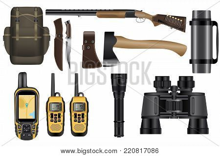A set of realistic hunting equipment kit isolated on white: backpack, rifle with cartridges, knife, hatchet, GPS navigator device, walkie-talkie, binoculars, flashlight and thermos. poster