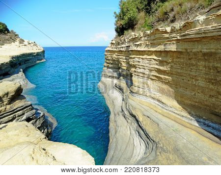 canal d'amor famous beach coast in the ionian sea landscape on Corfu island
