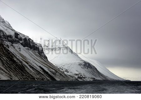Mountains outside Longearbyen, Viewed from Water. Svalbard, Norway