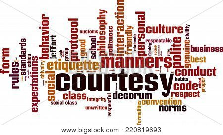 Courtesy word cloud concept. Vector illustration on white