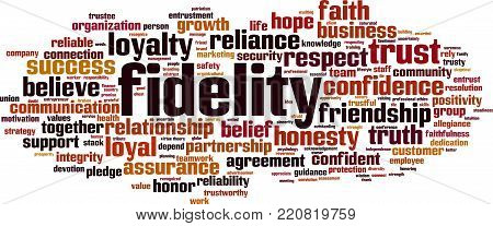 Fidelity word cloud concept. Vector illustration on white