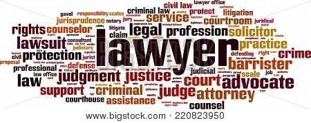 Lawyer word cloud concept. Vector illustration on white