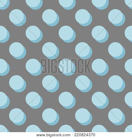 Tile vector pattern with pastel blue polka dots with shadow on grey background