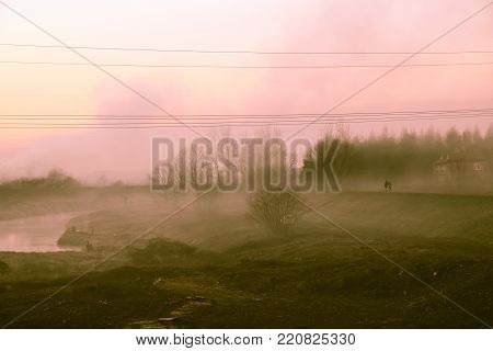 Post apocalyptic landscape after a nuclear war