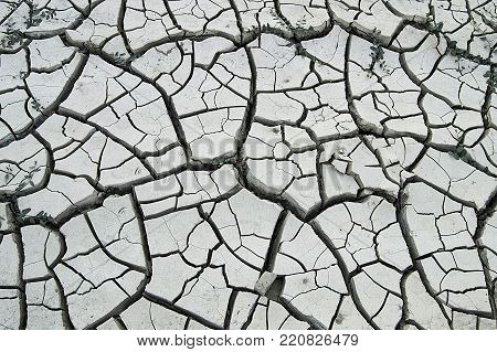 thirst, drought, negative resultant drought of global warming, cracking of soil from thirst, poster