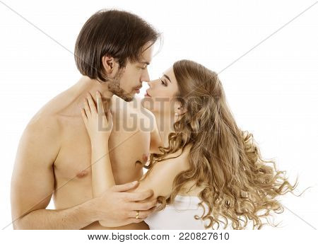 Sexy Couple, Young Naked Man Kissing Beautiful Woman, Love Kiss over White Background