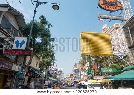 BANGKOK, THAILAND - December 23 2017: Signboards on the wall of the house. Khao San Road is a famous low budget hotels and guesthouses area in Bangkok