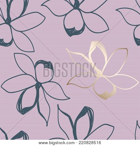 Floral seamless pattern. Pastel colors and Gold. Stylized sketch jasmine or magnolia flowers. Great for fabric, wallpaper, wrapping paper, surface design, wedding invitation. Vector