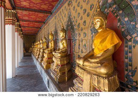 Buddha statues at Wat Arun Bangkok Thailand.