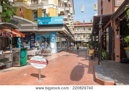 BANGKOK, THAILAND - December 22 2017: Rambuttri Village Inn Plaza on Rambuttri road.At Rambuttri Village Inn Plaza a 20-minute stroll of popular places like Temple of the Emerald Buddha and Grand Palace.