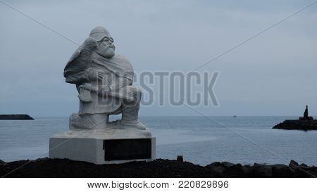 Reykjanesbaer/Iceland -August, 28, 2017: A statue of Hrafna-Flóki Vilgerdarson in Viking World Museum. Viking World is a five exhibition museum along with a zoo, a playground and an outdoor classroom.