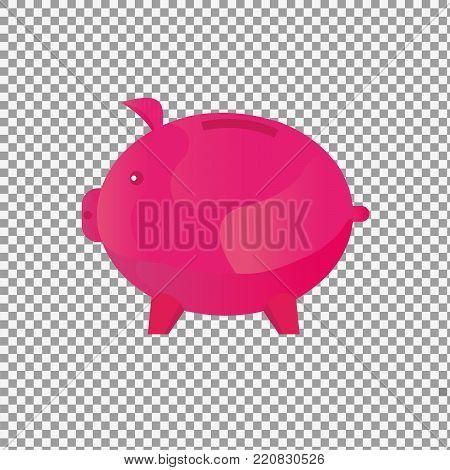 Save money vector concept flat design. Money box. Pink Pig money box. -stock vector