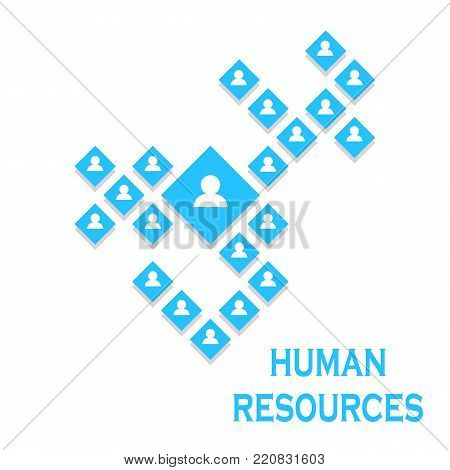 concept illustration of human resources management . Joint labor. Corporation. Control. Isolated on a white background without a shadow.
