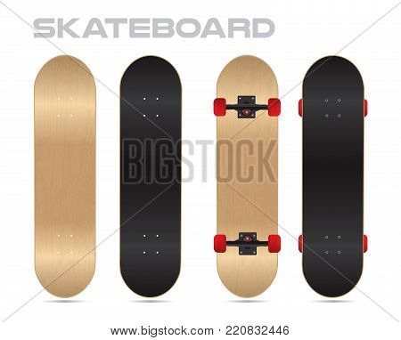 maple wood blank Skateboard Template vector two sides