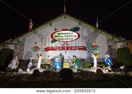 Frankenmuth, Michigan, USA - April 17, 2016: Exterior of Bronners Christmas Wonderland in Frankenmuth, Michigan, The store bills itself as the largest Christmas store and is a popular tourist attraction in Michigan.