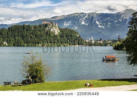 Landscape summer of Lake Bled, Julian Alps, Slovenia
