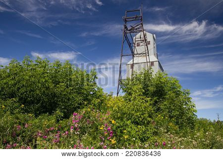 Calumet, Michigan, USA - July 21, 2016: The now abandoned Quincy Copper Mine serves as a historical tourist attraction in the Keweenaw National Historic Park in the Upper Peninsula of Michigan.