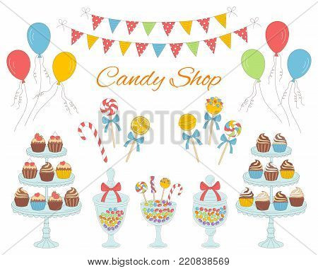 Vector illustration of candy shop with colorful sweets, candies in glass jars, lollipops, sweetmeats, candy cane, cupcakes, air balloons and bunting flags. Hand drawn doodle illustration.