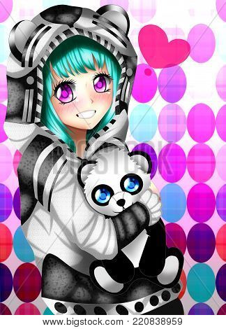 Anime girl with a sweater and stuffed animal.