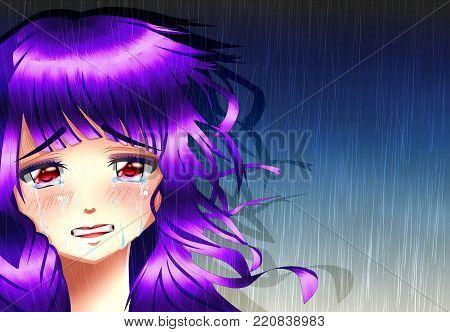 Sadness anime girl under the rain, anime version.