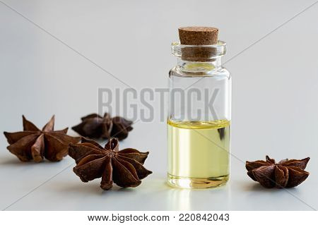 A bottle of star anise essential oil with star anise on a white background