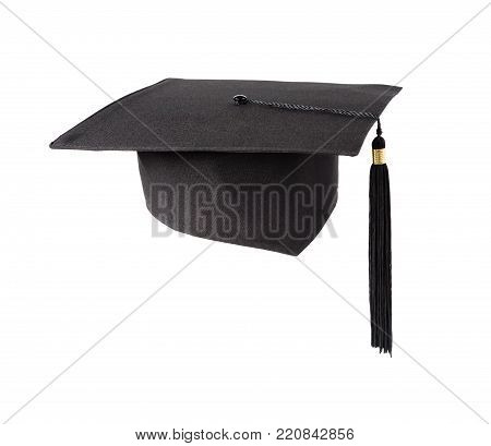 Black square graduate hat (academic hat) with a tassel isolated on white background