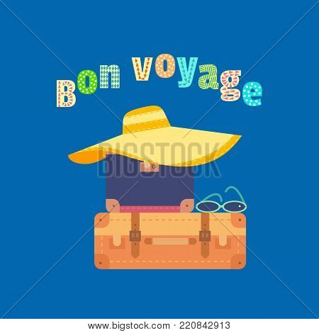 Travel icon. Have nice trip - Bon Voyage in French. Fancy colorful cartoon letters. Vacation tour symbol. Vintage marine tripping advertisement banner background. Vector seashore retro illustration