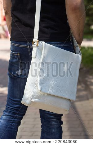 Men's Leather White Shoulder Bag. White leather shoulder bag