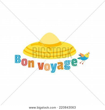 Tourist travel icon. Have a nice trip - Bon Voyage in French. Fancy colorful letters. Women Summer hat. Girl beach sunhat flat cartoon. Lady hat for vacation sign. Holiday tour retro vector background
