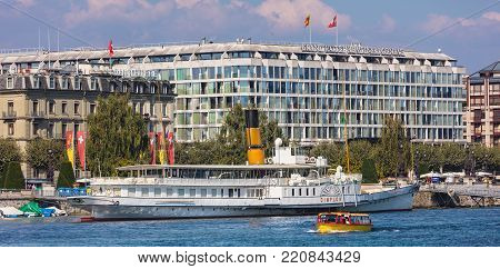 Geneva, Switzerland - 24 September, 2016: buildings of the city of Geneva along Lake Geneva. The city of Geneva is the capital of the Swiss canton of Geneva and the second most populous city in Switzerland.