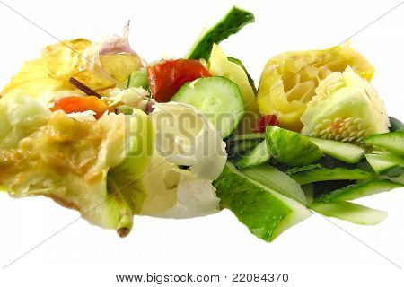 Kitchen Garbage On A White Background