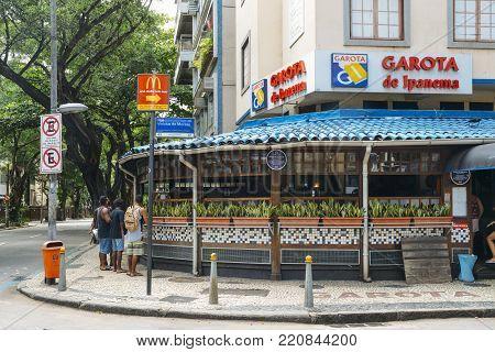 Rio de Janeiro, Brazil - January 6th, 2018:  Garota de Ipanema is a bar on Rua Vinicius de Morais in Ipanema, Rio de Janeiro, Brazil named after the famous song by Vinicius de Morais