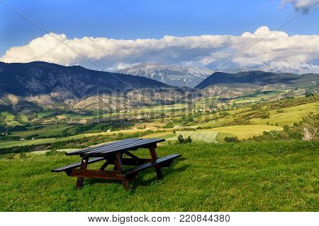 Beautiful rest place in the French Alps with view on mountains and valley