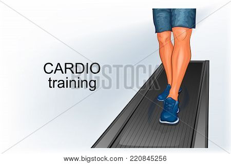 vector illustration of a cardio workout. the feet of the man on the simulator