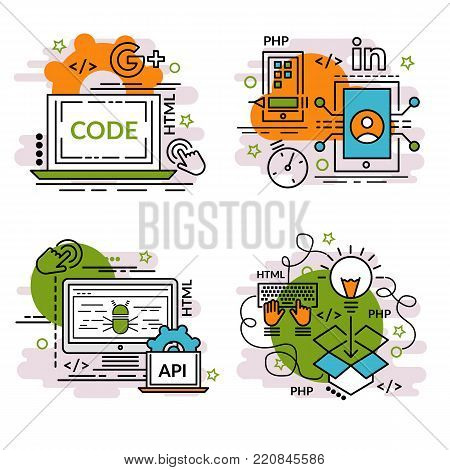 Set of outline icons of APP Development. Colorful icons for website, mobile, app design and print.