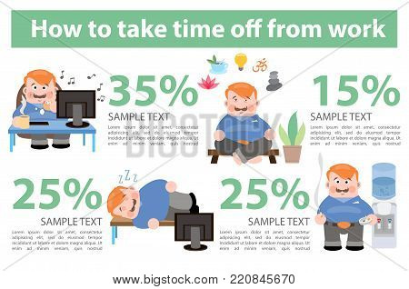 How to take time off from work. Vector infographics