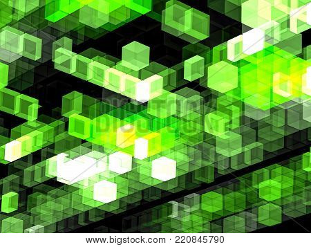 Green technology background - abstract computer-generated image. Design of glowing chaos cubes for banners, covers, posters. Hi-tech or sci-fi concept.