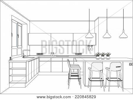 3D vector sketch. Modern kitchen design in home interior. Kitchen sketch with decorations and appliances. There is also a kitchen island in the room.