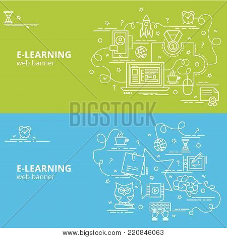 Flat colorful design concept for E-Learning. Infographic idea of making creative products. Template for website banner, flyer and poster.
