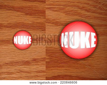 Much bigger and more powerful Nuclear Button that works, on a wooden desk
