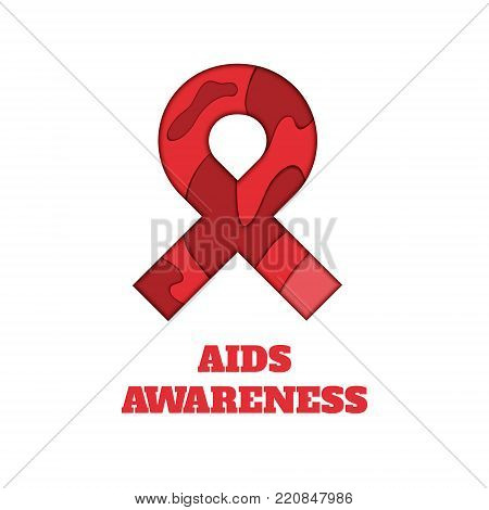 AIDS awareness poster. Red ribbon made in 3D paper cut and craft style on white background. Symbol of acquired immune deficiency syndrome. Medical concept. Vector illustration.