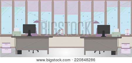 The winter office on a light pink background. Vector illustration. Two tables and two chairs, folders, large windows, protective blinds, boxes