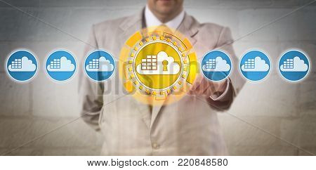 Unrecognizable corporate manager selecting the only one secure cloud container in a lineup of otherwise insecure containerized solutions. Computing concept for cybersecurity and containerization.