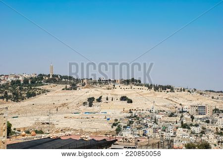 Horizontal picture of the most ancient Jewish cemetery located in the Mount of Olives in Jerusalem, Israel.